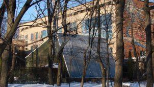 Корпус для кружковых занятий с оранжереей и панно «Земля» на парковом фасаде, 1962 г., дворец пионеров и школьников им. 40-летия Всесоюзной пионерской организации