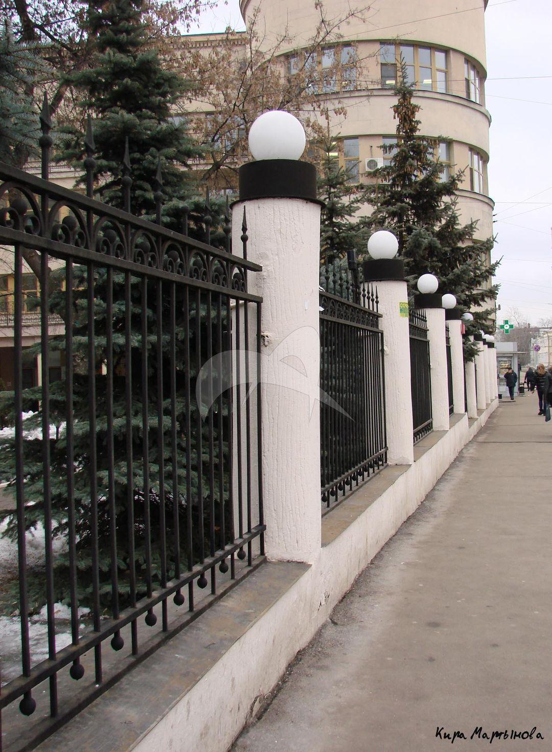 Ограда, поликлиника Наркомата путей сообщения (МПС), 1923-1933 гг., арх. И.А. Фомин
