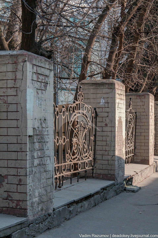 Ограда, 1905 г., арх. С.С. Кучинский, городская усадьба П.А. и Н.П. Павловых («Товарищества мануфактур, основанных И.И. Скворцовым»)